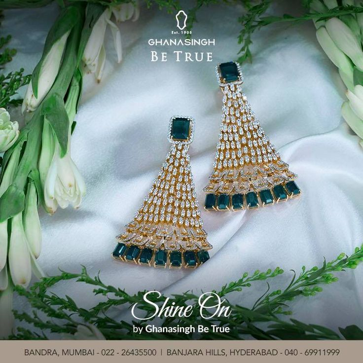 GBT presents its emerald collection. #shineon Stay classy and stylish with #GBT #Emerald #Earrings #Luxury