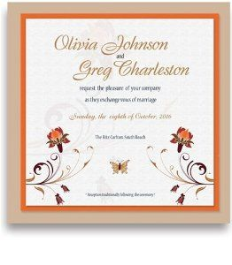 255 Square Wedding Invitations - Flower & Butterfly by WeddingPaperMasters.com. $637.50. Now you can have it all! We have created, at incredible prices & outstanding quality, more than 300 gorgeous collections consisting of over 6000 beautiful pieces that are perfectly coordinated together to capture your vision without compromise. No more mixing and matching or having to compromise your look. We can provide you with one piece or an entire collection in a one stop...