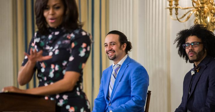 The show's creator and star, Lin-Manuel Miranda, and other cast members had a day of events in Washington, including a Q. and A. with area students.
