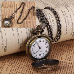 $5.24 Trendy Quartz Pocket Watch with Hanging Neck Chain for Unisex in Medium Size (Bronze)