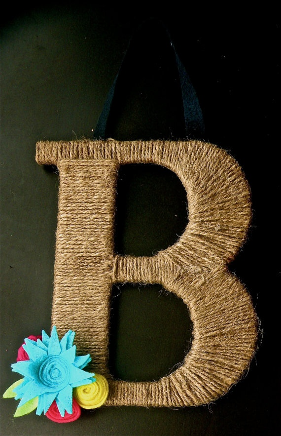 Twine Monogram Wreath: May make one of these for the front door this fall