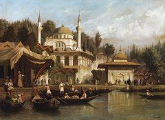 Istanbul Paintings - Mosque Mihrimah Sultan In Istanbul by August Finke