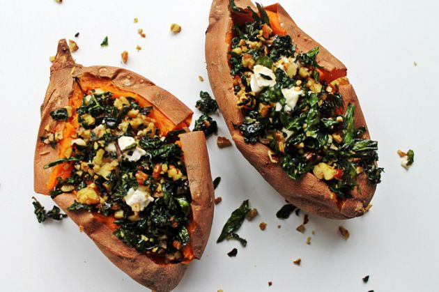 Twice baked sweet potatoes stuffed with kale, walnuts and brie