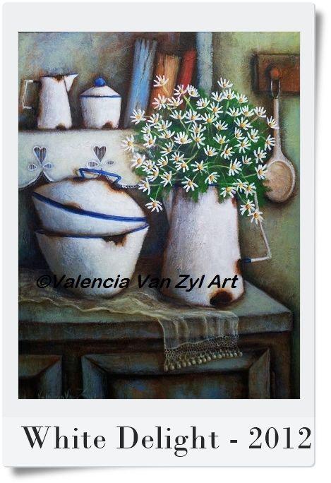 Valencia Van Zyl Art - Acrylic on canvas https://www.facebook.com/ValenciaVanZylArt Sold Still Life, Daisies, Enamel, Kitchen, old books, Vintage