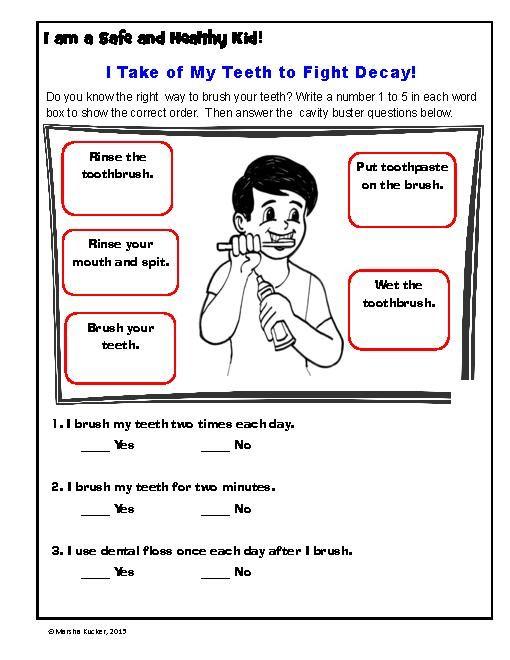 Kindergarten Health Worksheets