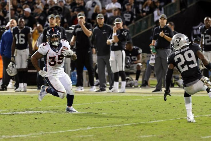 Broncos vs. Raiders:   November 6, 2016  -  30-20, Raiders  -    Shots of the Game: Bibbs eludes Oakland defense  -  A frame-by-frame look at the Broncos' biggest play Sunday night, a 69-yard catch and run by Kapri Bibbs. (photos by Larry Rosa)