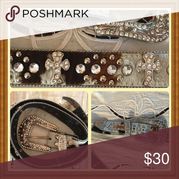 Western Bling Belt Cow hide with white crystals and crosses Accessories Belts
