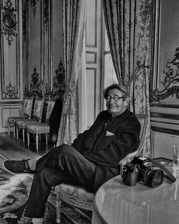 Mr Helmut Newton ~ photographed in Madame Bernadette Chirac's waiting room in the Élysée Palace,