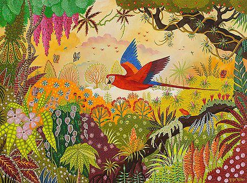 Ara en vol alain thomas art naive tropical for Alain thomas
