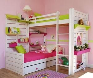 lits superpos s d 39 angle sans toit lits cabane sur lev s. Black Bedroom Furniture Sets. Home Design Ideas
