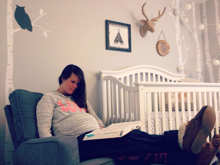 Just kickin it in baby boy's room waiting for his arrival.