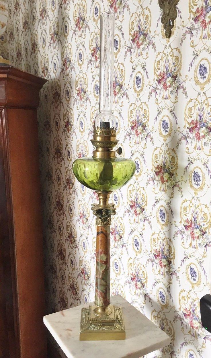 Lampe Pétrole Bronze Colonne Corinthienne Onyx Réservoir Cristal Vert 80 cm XIX FOR SALE • EUR 260,00 • See Photos! Ancienne grande lampe à pétrole, 19 eme. Colonne en bronze et onyx.Réservoir vert en cristal taillé (certainement BACCARAT).Bobèche avec mèche et cheminée en cristal. 80 cm de hauteur cheminée comprise56 112604683598