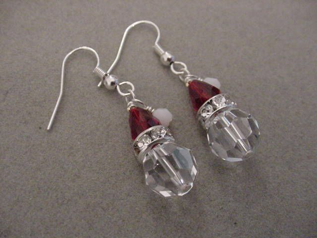 Swarovski Crystal SANTA EARRINGS Christmas Jewelry Santa Jewelry Choice silver or gold by Magicclosetbling on Etsy