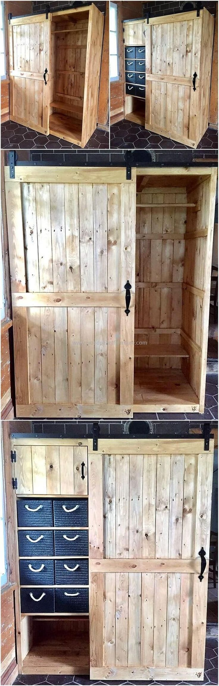 This is another decent design of upcycled pallet wood closet. This project is uniquely created in a delightful way to provide you the best closet for your place. It's easily movable wooden door and large storage space will definitely able you to keep different essential items in it. #pallets #woodpallet #palletfurniture #palletproject #palletideas #recycle #recycledpallet #reclaimed #repurposed #reused #restore #upcycle #diy #palletart #pallet #recycling #upcycling #refurnish #recycled #wood