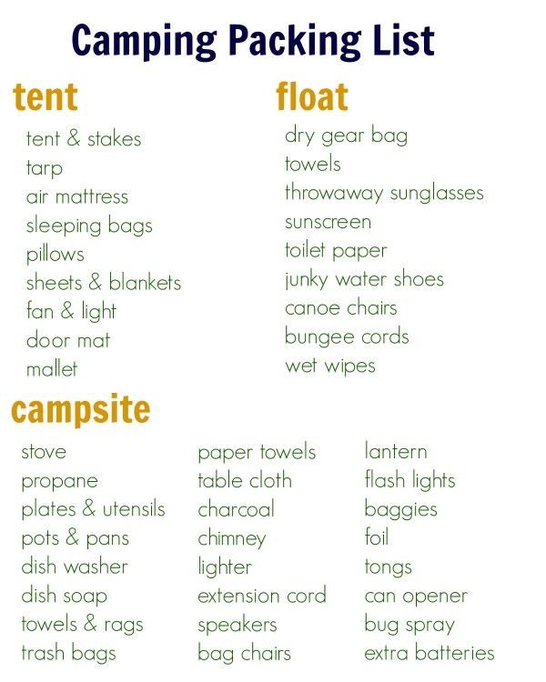 Camping and Float Trip Packing List