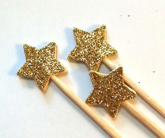 24+Gold+Glitter+Star+Party+Picks++Cupcake+Toppers+/+by+NikkiCrafts,+$2 ...