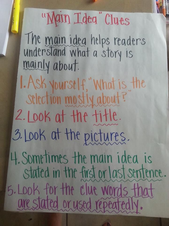 Week 3- main idea and key details  This is a great poster to hang up to help students understand main idea.