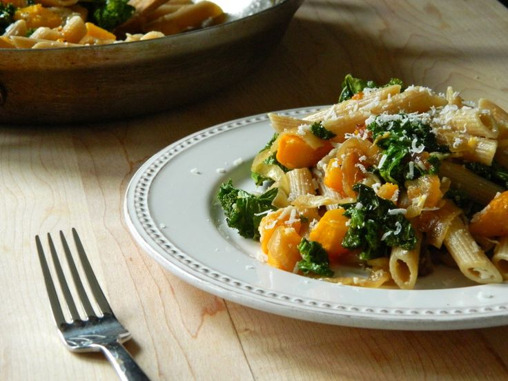 Butternut squash with kale and penne | Healthy Food | Pinterest