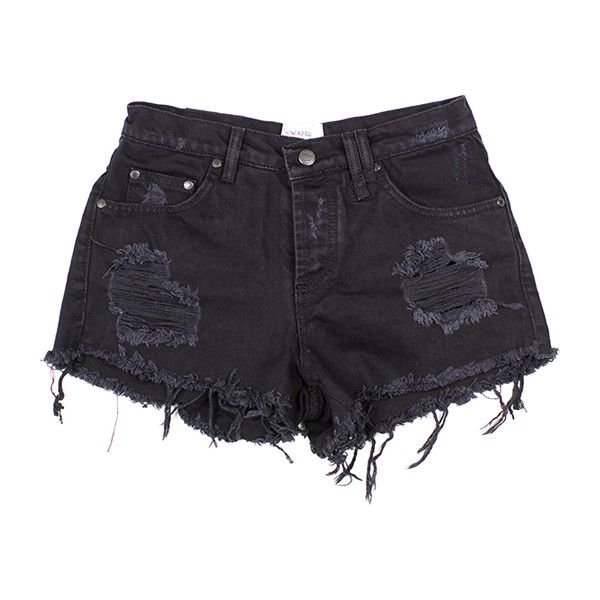 RILEY DENIM CUT OFF SHORTS BLACK ($89) ❤ liked on Polyvore featuring shorts, bottoms, pants, denim shorts, denim cut-offs, cut-off, short jean shorts and cutoff shorts