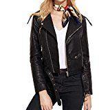Amazon Angebote Mode Damen Kunstleder Jacke Motorradjacke Ladies Oberbekleidung Outwear Mode Rennen Stil Biker Jacke (S,…%#Quickberater%