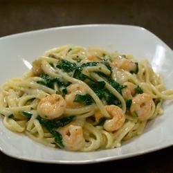 New Year Spinach Fettuccine - Allrecipes.com Would be good even without the scallops/shrimp