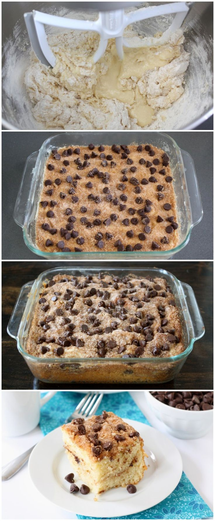 Chocolate Chip Coffee Cake Recipe on twopeasandtheirpod.com This easy cake is a real breakfast treat!