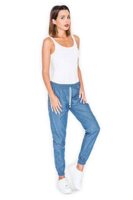 Spodnie ala jeans ze ściągaczami