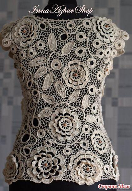 """УРА, связалась, блузочка! Доброго всем времени суток! Хочу представить вашему вниманию блузочку, которая связалась у меня по мотивам представленной блузы мастера из """"Журнала Мод""""."""