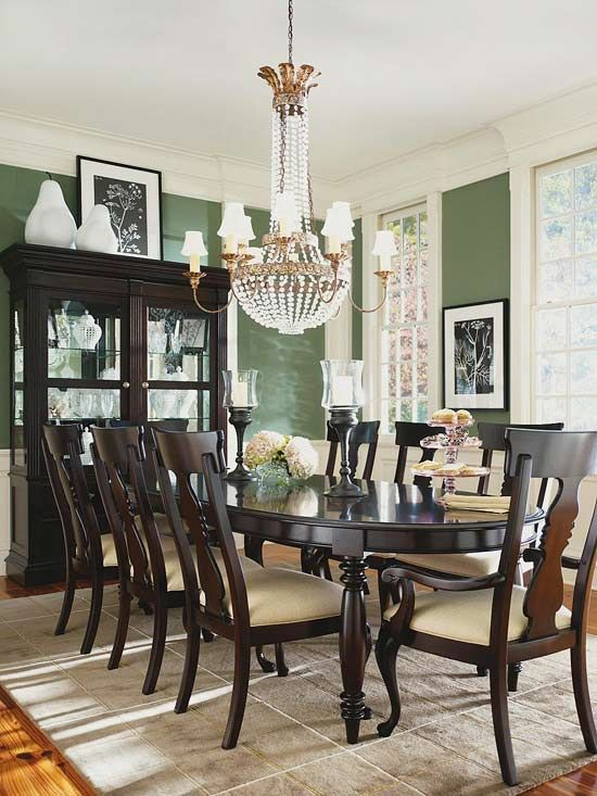 Traditional Dining. The shapes in this style setting are typically very graceful. Curving lines are very common. Furniture is often constructed of dark wood and finely crafted detail. Think Queen Anne style table legs and rolled sofa arms, for example, and sofas with arched backs.