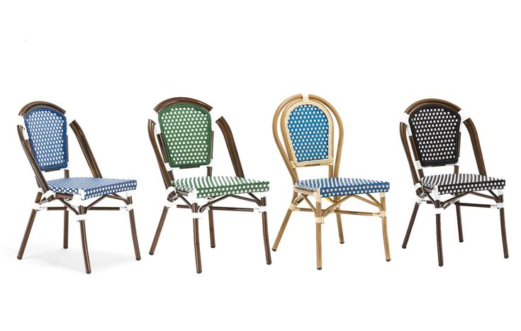 Paris Bistro Chair Rust proof aluminium frame, ideal for outdoor areas or cafe style dining. These armless rattan-framed dining chairs are part of the iconic look created by French bistros in the south of France. Hand-woven and artisan crafted, these French style bistro chairs in bright synthetic material, will add a a contemporary vibe to your outdoor or indoor space.