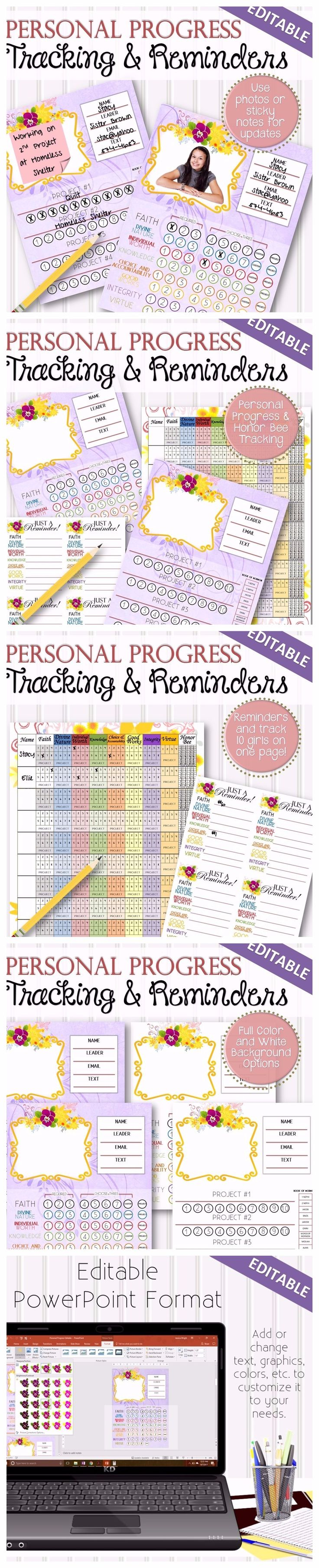 """A completely editable and easy way for parents, leaders and young women to track their honor bee and personal progress . Place a photo or sticky notes for easy updates, individual tracking or multiple tracking per page (up to 10 girls), along with coordinating reminder notes! Comes in a PDF format AND an editable PowerPoint format where you can change the fonts, sizing, headers, titles, content, graphics, create calendars, etc! Formatted to fit a 8.5""""x11"""" page."""