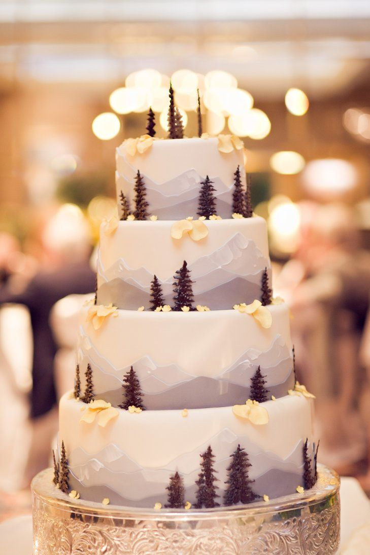 Through The Winter Woods Layer Cake - Rocky mountain themed cake real photography https www theknot com