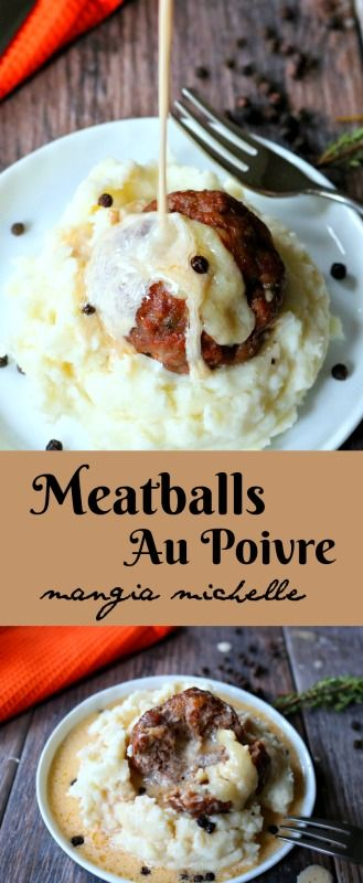 Meatballs au poivre is fancy comfort food. A spin on the classic steak au poivre, but easier on the wallet and just as delicious ~ www.mangiamichelle.com