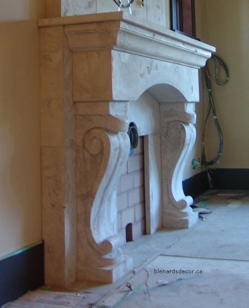 Fireplace Mantels Surrounds, in Vancouver BC by Blenards Decor. Limestone, Concrete, Marble, Sandstone
