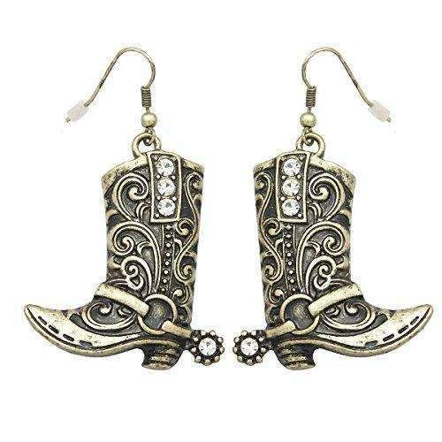 Vintage Gold Tone RechicGu Western Wild West Cowgirl Texas Boots Spur Rodeo Fancy Dress Costume Dangle Earrings
