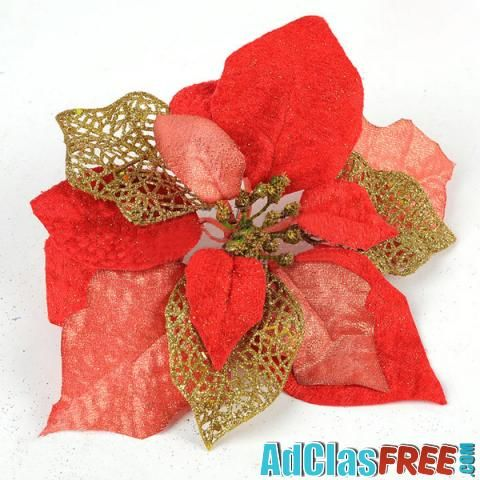 Three Layer Red Gold Flower Christmas Tree Decoration