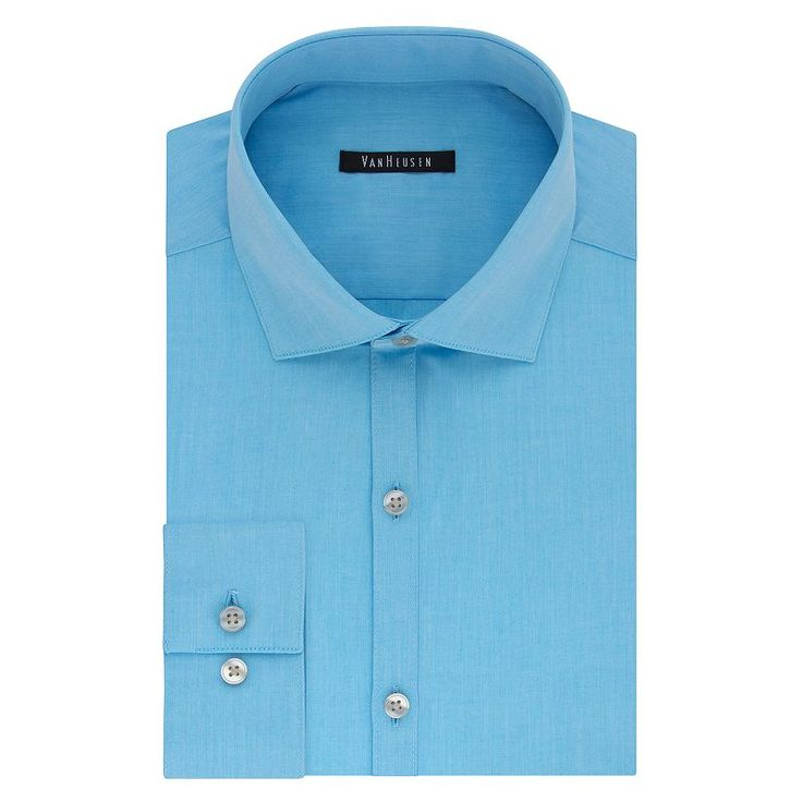 Big & Tall Van Heusen Flex Collar Slim Tall Dress Shirt, Men's, Size: 22 35-36, Turquoise/Blue (Turq/Aqua)