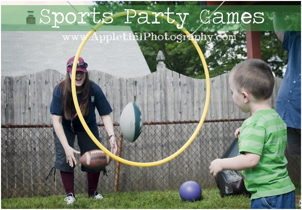Sports Party Games.   Fun sports games to play with the kids.  Football throw,  Basketball toss, Batting cages and Soccer kick.  Perfect games for the backyard.