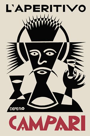 L'Aperitivo Campari by Fortunato Depero (1892-1960). He was an Italian futurist painter, writer, sculptor and graphic designer.