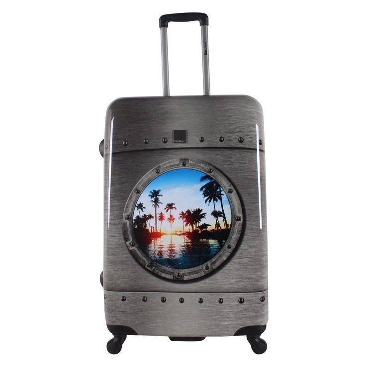 Großer #Koffer Saxoline Blue Porthole bei Koffermarkt: ✓Hartschale ✓Motiv: Bullauge in Metall-Optik ✓4 Rollen ✓TSA-Schloss  ⇒Jetzt kaufen
