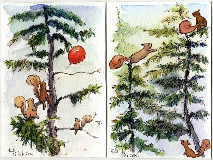 Squirrel joy the pine trees.