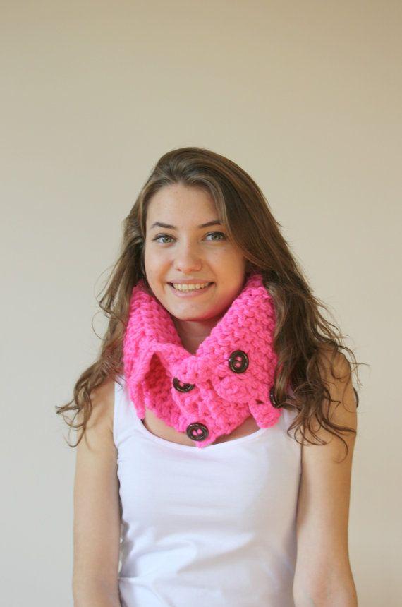 Neon roze sjaal-omslagdoek Neckwarmer Cowl Mothers door denizgunes