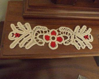 Tapetito rumano punto ganchillo tapete rojo Floral patrón de
