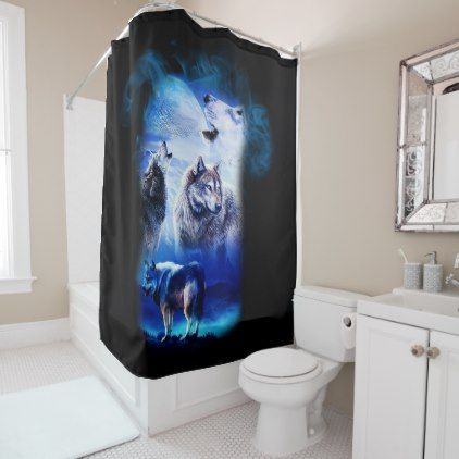 Fantasy Wolf Moon Mountain Shower Curtain - shower curtains home decor custom idea personalize bathroom
