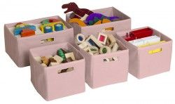 Pink Storage Bins-Set of 5