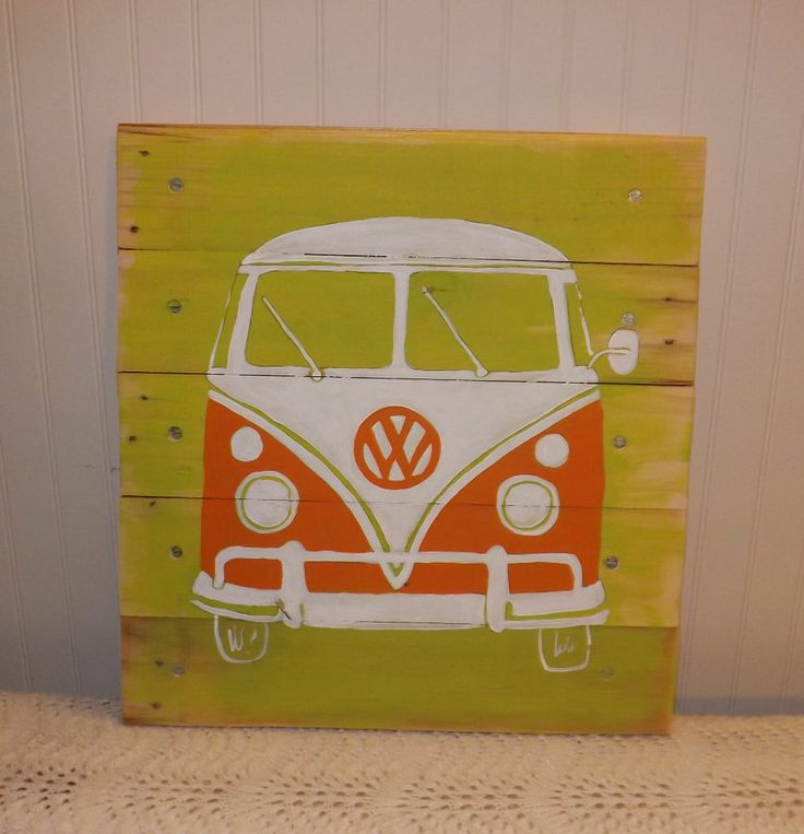 Copyrighted artwork sold on eBay.  Custom colors available.  Hippie Van VW BUS/Transporter ORIGINAL PALLET ART Retro surf/beach WALL ART