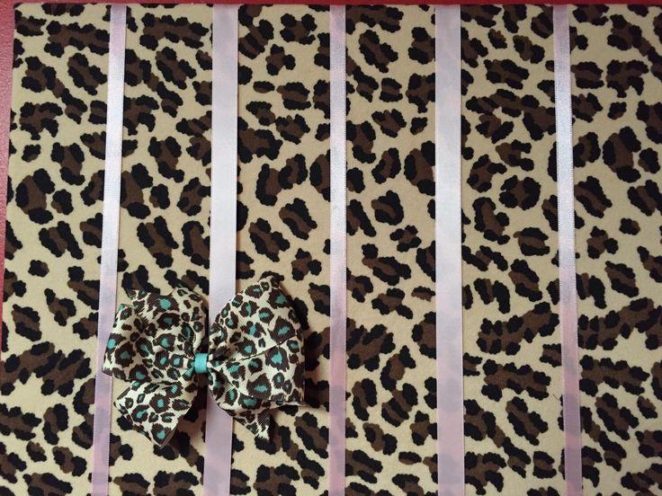 Pink Leopard Hair Bow Holder Hair Bow Organizer by RaftsCrafts on Etsy https://www.etsy.com/listing/195952847/pink-leopard-hair-bow-holder-hair-bow