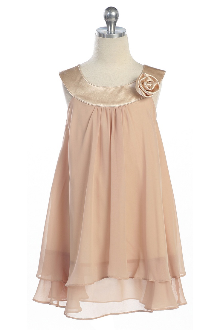 Taupe Satin bib necklin & chiffon A-line flower girl dress K255T $29.95 on www.GirlsDressLine.Com