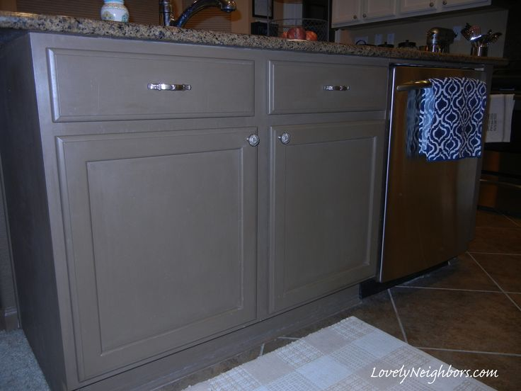 Lovely Neighbors - Chalk painted Kitchen Island.  DIY Chalk Paint with Valspar Shutter Brown paint.