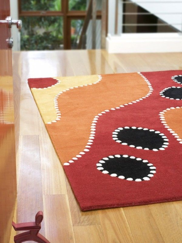 The Rug Collection-Yowa (Waterholes)100% Wool,Hand tufted, plush pile with carved design.